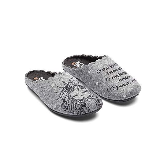 Slippers Wake Up Gris Zapatillas de Estar por casa Mujer Invierno Otoño - 36 EU