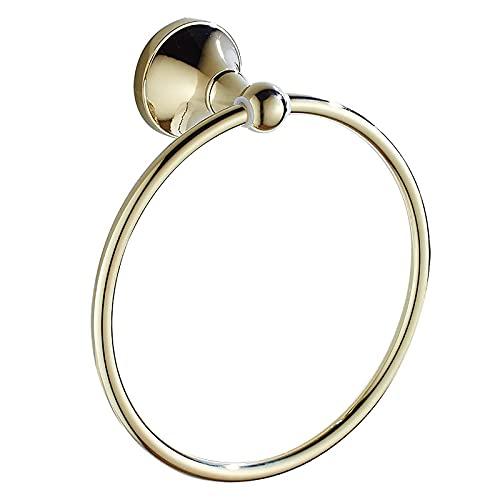 Soporte de anillo de toalla de oro para baño, toallero para baño, toallero de pared de latón, barra de toalla redonda simple y elegante