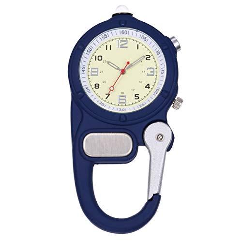 Vintage Mini Karabiner-Clip-Taschen-Uhr mit kleinen Taschenlampe beweglicher Haken Up Rucksack Karabiner-Uhr-Blau