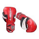 Colcolo Guantes de Boxeo Muay Thai Kick Boxing PU Cuero Sparring Bolso Pesado Entrenamiento de Entrenamiento MMA Pro Gloves Mits Trabajo para Hombres Y Mujere - 10 oz de Rojo