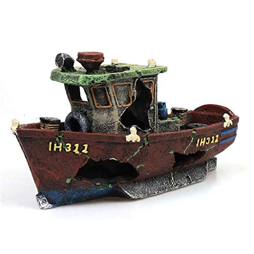 Fishing Boat Shipwreck Shelter Fish Tank Landscaping Ornament Simulation Crafts Aquarium Decorations Fish Entertainment Hiding Place Elegant Decor for Freshwater Saltwater Aquarium Fish Decorations