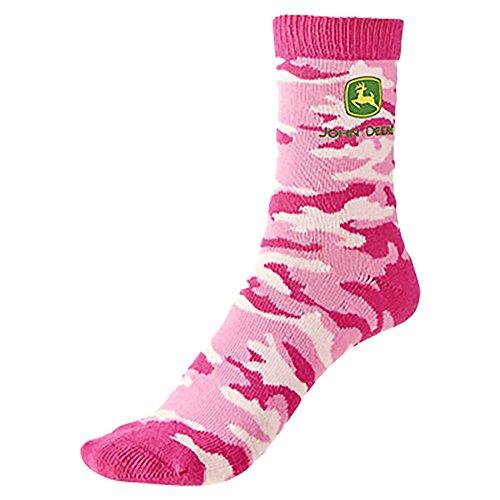John Deere Socks Girls Pink Camo Logo Size 3-10