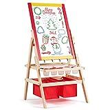 COSTWAY Caballete para Niños 3 en 1 Tablero de Doble Cara Pizarra de Pie de Madera con Accesorios para Juego Dibujo Infantil (Modelo 2)