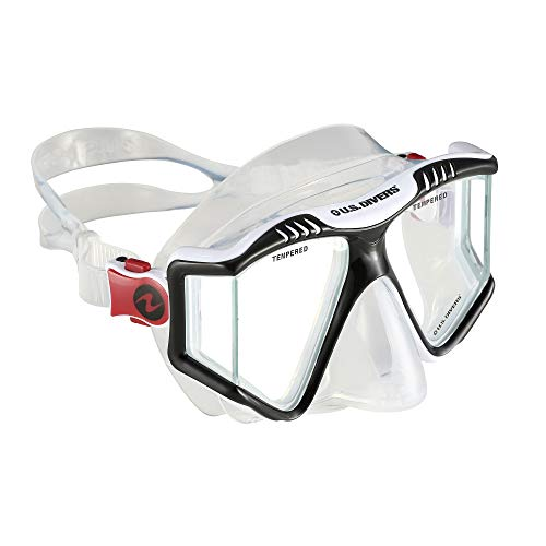 U.S. Divers Adult One Size Fits Most Lux LP Purge Underwater Snorkel Mask with Panoramic Lens Technology, Red