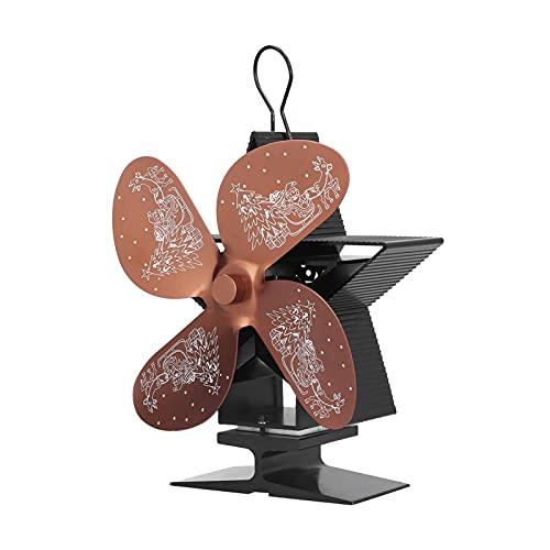FOKH Ventilador de Estufa con energía térmica, Ventilador de Chimenea silencioso de 4 aspas, Ventilador de Estufa de leña ecológico para Quemador de leña/leña, circulación de Aire Caliente(Bronce)