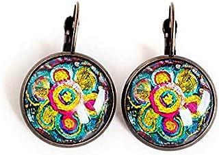 Orecchini cabochon, traversine, cabochon ultra colorato, vetro, multicolor, bronzo