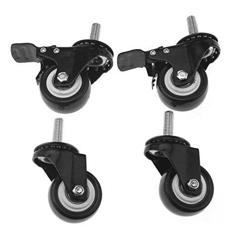 Juego de 4 ruedas de freno giratorias de poliuretano con tornillo para muebles, ruedas de 50 mm