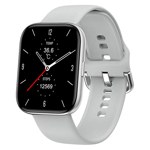 QFSLR Smartwatch, Reloj Inteligente Mujer Hombre con Oxigeno(Spo2), Monitor De Presión Arterial Contador Caloría Pulsómetros Pulsera Actividad Inteligente para Android Y iOS,Silver e