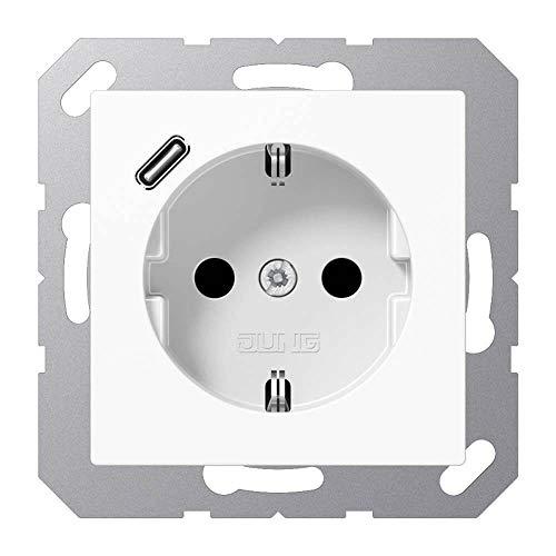 Jung A1520-18CWW SCHUKO-Steckdose mit USB Typ C (max. 3A) Quick Charge mit erhöhtem Berührungsschutz (Thermoplast bruchsicher) Alpinweiß Serie A