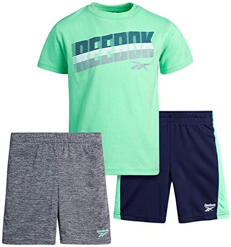 Reebok Baby Boys' Shorts Set – 3 Piece Short Sleeve T-Shirt and Shorts Playwear Set (Infant/Toddler), Size 4 Toddler, Green/Navy