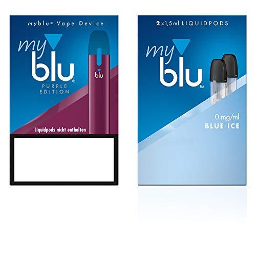 Elektrische Zigarette myblu Farbe Purpur - Starter Set mit Podpack Geschmack Blue Ice - Ohne Nikotin + Original myblu Soft Touch Pen + Glitzer Tattoo Set