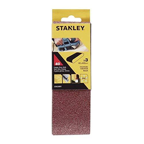 STANLEY 5289223 3 Bandas de lija. 60 x 400 mm. Grano 40