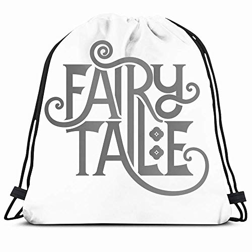 Drawstring Backpack String Bag 14x16 Introduction Book Fairy Tale Lettering Dream Fairytale Retro Storybook Text Typography Fantasy Adventure Sport Gym Sackpack Hiking Yoga Travel Beach