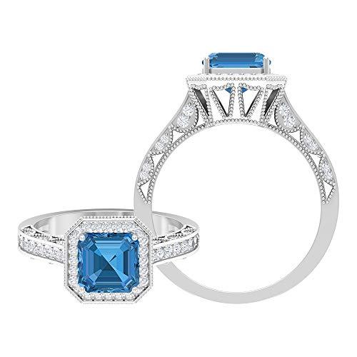 Anillo de compromiso de 4,50 quilates para mujer con zafiro azul ártico y acento moissanita, anillo vintage de oro (calidad AAAA), 14K Oro blanco, Size:EU 49
