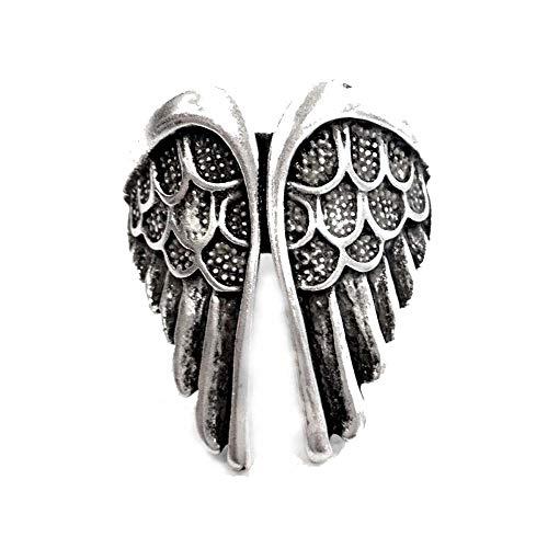 MACEDONIA di MARMO RICCARDO Ditta individuale Anello in metallo con ali d'angelo regolabile color argento uomo donna
