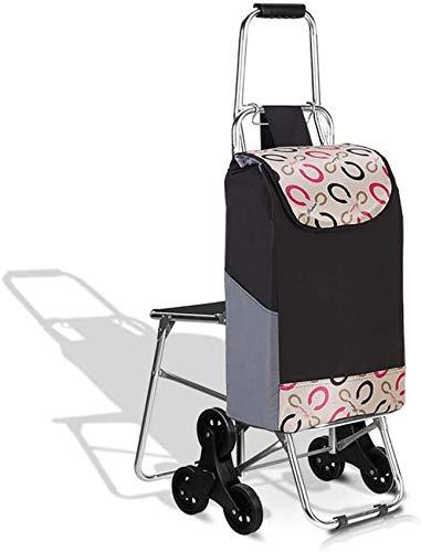 N/Z Home Equipment Tragbarer zusammenklappbarer Einkaufswagen 3-Rad Leichter Treppensteigwagen mit Abnehmbarer wasserdichter Tasche für Wäsche Lebensmittel und Markt (Farbe: 1)