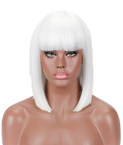 Kalyss Kurze Bob-Perücke, 30,5 cm, glatt, Bob, stilvolle Perücke mit Pony, für schwarze Frauen, hitzebeständiges Yaki-Haar, Damenperücken