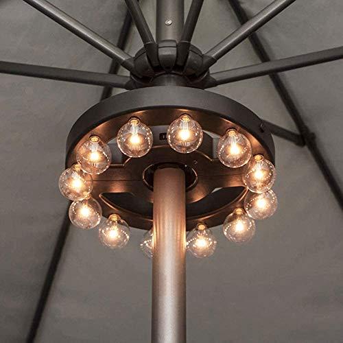 ZHONGXIN Regenschirm-LED-Leuchten für den Außenbereich, batteriebetrieben, kabellos, mit Fernbedienung, 12 warmweiße G40-LED-Leuchtmittel, für Gartenschirme oder Camping-Zelt