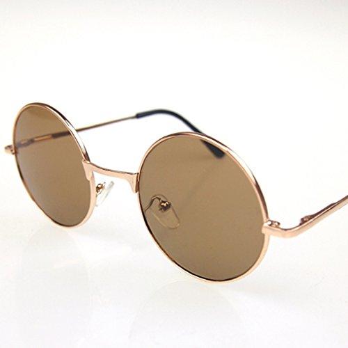 QHGstore Gafas de sol de los hombres de Steampunk retro gafas redondas de plata