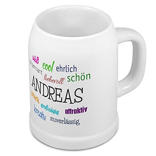 Bierkrug mit Name Andreas - Positive Eigenschaften von Andreas - Namens-Tasse, Becher, Maßkrug, Humpen