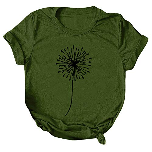 T-Shirt Damen Kurzarm Casual Sommer Lose Shirt Oversize Oberteile T-Shirt Bluse Frauen Casual Printing Kurzarm O-Ausschnitt Loose Tops (S,2armeegrün)