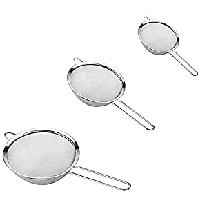 3PCS Stainless Steel Fine Mesh Strainers,Kitchen Sieves Strainers with Handle,Food Colander Sieve for Tea Coffee Powder… |