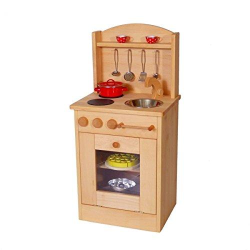 Kinderspielküche Däumelinchen 2014G Massivholz-Kinderküche Backofen Herd und Spüle …