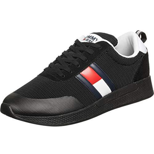 Tommy Hilfiger Flexi Tommy Jeans Flag Sneaker, Zapatillas Hombre, Negro (Black Bds), 42 EU