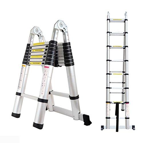 Bowoshen 16.5FT Extension Telescopic A-Frame Ladder 16 Feet Multi-Purpose Aluminum Portable Ladder 330lb Loading EN131 Certified