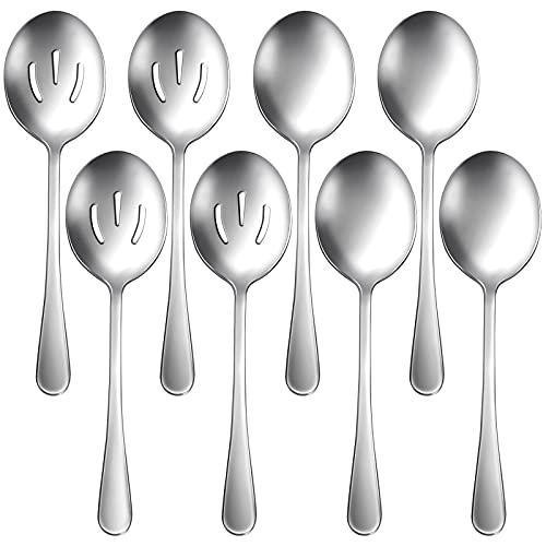 Hiware 8 Pack Stainless Steel Serving Spoons Set Includes 4 Serving Spoons and 4 Slotted Serving Spoons, Buffet Serving Utensils - Mirror Polished, Dishwasher Safe