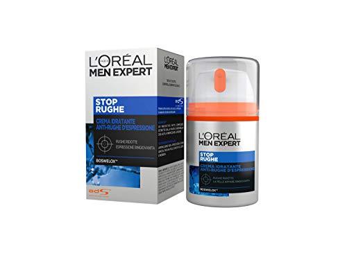 L'Oréal Paris Men Expert Crema Viso Uomo Stop Rughe, Crema Anti-Età, Combatte le Rughe d'Espressione, 50 ml, Confezione da 1