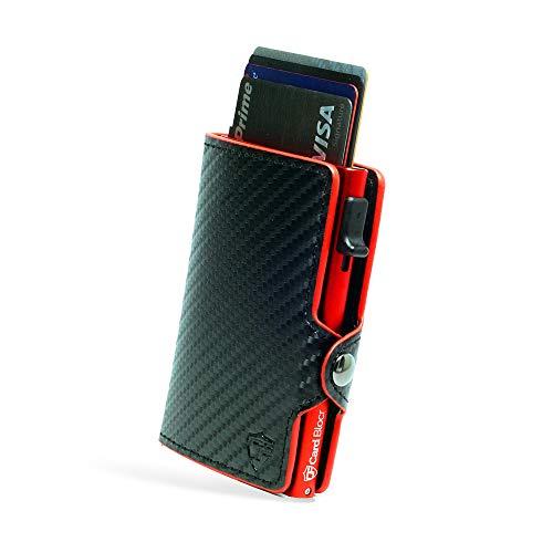 Card Blocr Credit Card Wallet, Credit Card Holder, Rfid Wallet,Minimalist Card Holder, PU Carbon Fiber Wallet, Red - Conceal Plus