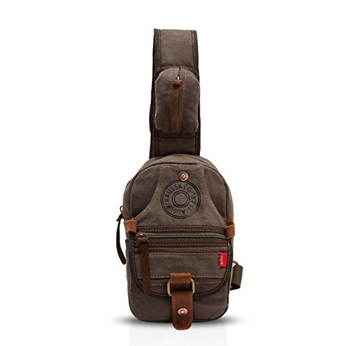 FANDARE Vintage Small Sling Bag Chest Bag Shoulder Backpack Crossbody Bag Messenger Bag Men/Women Canvas Army Green