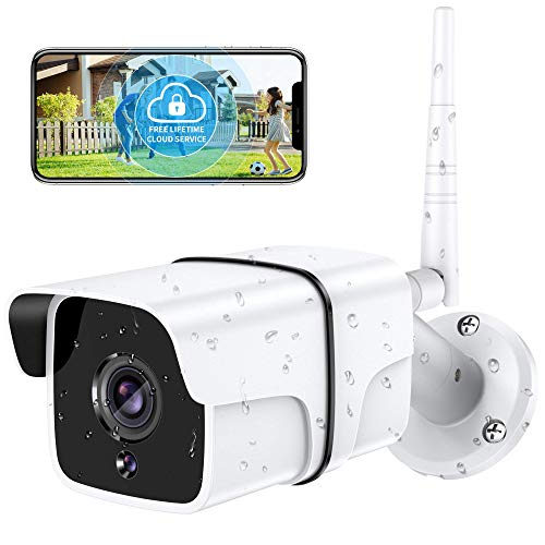 Security Camera Outdoor, Yamla 1080P WiFi Home Security Surveillance Camera Works with Alexa, IP66 Waterproof, Remote IP Smart Camera Wired, IR Night Vision 2-Way Audio Motion Detection Real Alert 1PC