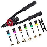 """RZX 13"""" rivet nut tool Nut/thread Hand Riveter blind rivet Kit M5 M6 M8 SAE 10-24, 1/4-20, & 5/16-18 W/ 60pc Rivnuts"""