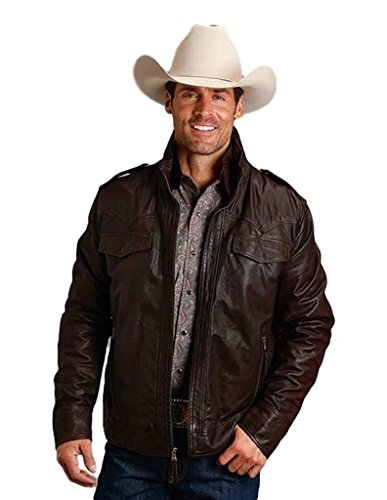 Stetson Western Jacket Mens Leather XL Brown 11-097-0539-6618 BR