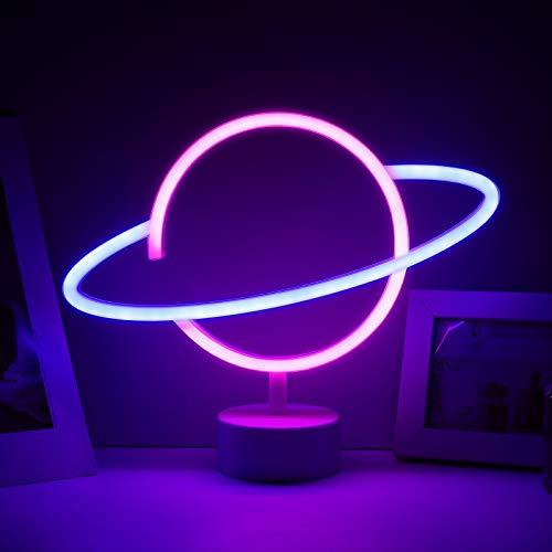 Vintoney Luce al neon del pianeta LED blu rosa Insegne al neon del pianeta alimentata a batteria Lampada per Camera Da Letto Festa Regalo Bambini