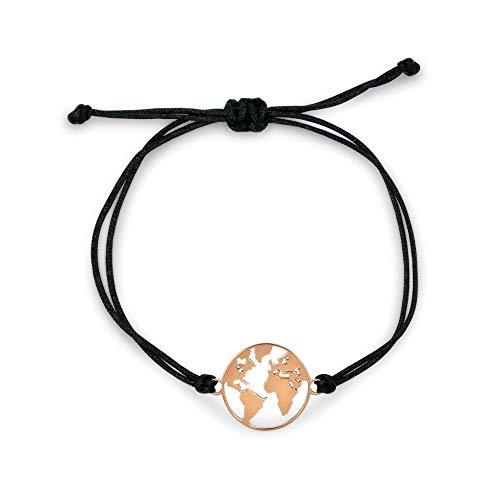 Nuoli® Weltkugel Armband Rosegold (verstellbar bis 20cm) Armkette für Frauen & Mädchen, Welt Armband Damen Gold