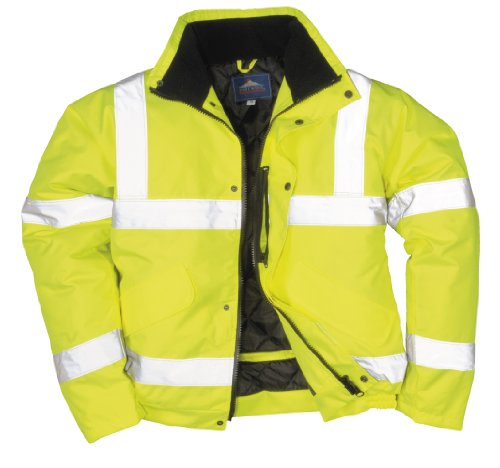 Portwest - Chaqueta de aviador con bandas reflectantes, color amarillo