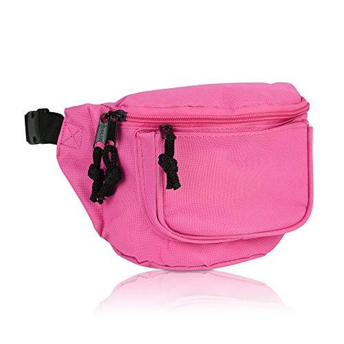 DALIX 3 Pocket Fanny Pack Money Pouch Concealer Runners Bag Waist Belt in Hot Pink