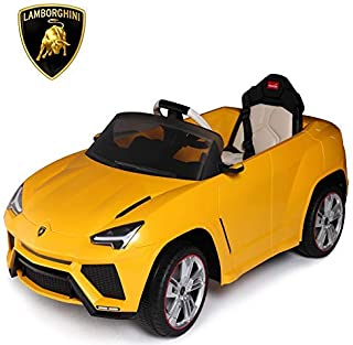 Uenjoy Compatible with Lamborghini Licensed 12V Kids Electric Ride On Car with LED Lights Music Parental Remote Control (Z-Yellow)