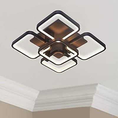 "Leniure Black Square LED Light Ceiling Lamp Contemporary Chandelier Lighting Fixture 18"" Wide 18"" Deep 6"" High, Warm White 3000K"