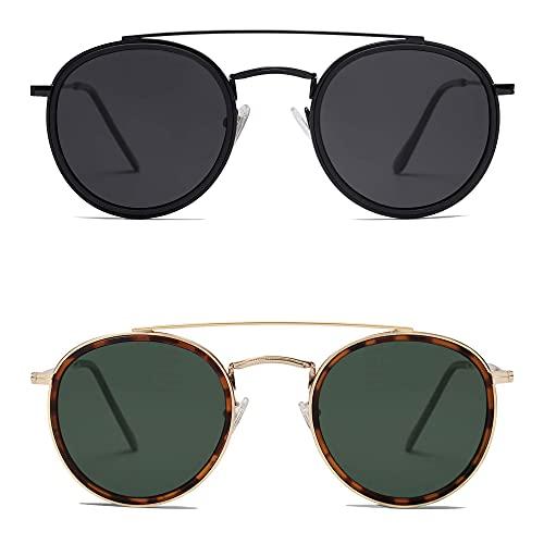 SOJOS 2 Pack Retro Round Polarized Sunglasses UV400 Double Bridge Sun Glasses SJ1104, Black & Green