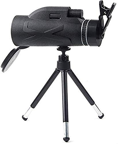 TREEECFCST Telescopio Regalos Monocular 80x100 de Alta Potencia HD monocular con bak4, Clip de teléfono móvil Simple + Soporte telescópico de aleación de Aluminio