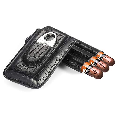 Cigar Case, Black Leather Cigar Travel Case Holder for 3 Cigars with Cutter Set for Shirt Pockets Golf Cart or Travel
