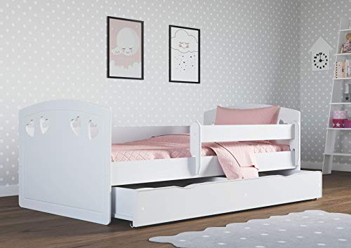 Lettino Letto singolo per bambini con materasso e cassetto inclusi | Perfetto per le ragazze |...