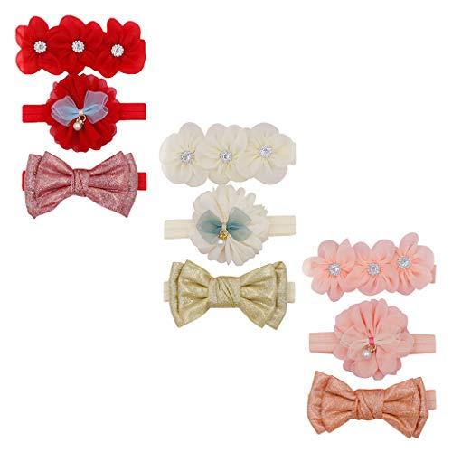 Diadema de 3 piezas para niñas, diseño de arco, accesorios para el pelo, para niños, regalo de nacimiento, cumpleaños, nacimiento, etc.