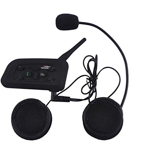 1PC Motorrad 2 Riders 1000M Bike-to-Bike-Helm Bluetooth Interphone unterstützt Paar mit anderen 5 Gegensprechanlagen separat in 5 Gruppen Sprech Diskussion (V6-1200M)