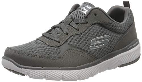 Skechers FLEX ADVANTAGE 3.0 Men's Low-Top Trainers, Grey (Charcoal Leather/Mesh/Trim Charcoal), 12 UK (47.5 EU)
