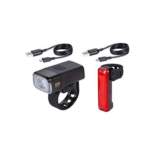 BBB Fahrradlicht NanoStrike Signal USB wiederaufladbares Licht-Set, Front- und Rücklicht, wasserdicht, MTB Urban Road 600 Lumen, BLS-165, Schwarz
